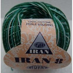 Cotone perlato IRAN colore VERDE sfumato n° 8 col. 92