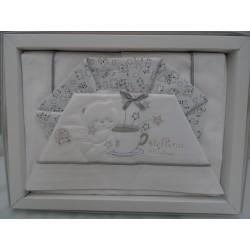 "Lenzuolino bianco e celeste per letto, 120x180 cm "" GIRA GIRA """