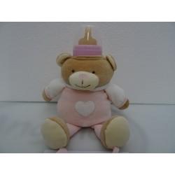 Orso porta biberon con bavaglino in tela aida da ricamare a puto croce col. rosa