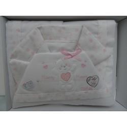 """Lenzuolino bianco e rosa per letto, 120x180 cm in flanella ricamata """" Happy heart """""""