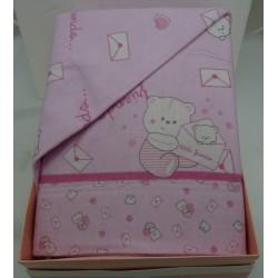 """Lenzuolino rosa per letto, 120x180 cm in flanella stampata """" Little friends """""""