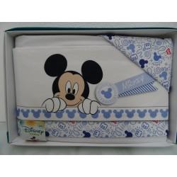 "Lenzuolino bianco e celeste per letto, Walt Disney "" Mickey """