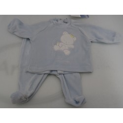 Baby chenille long sleeve shirt and pants, light blue color