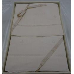 Lenzuolino ecrù, lettino 120x180 cm ricamato a mano, puro LINO