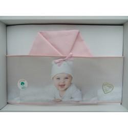 """Lenzuolina per culla rosa, fascia stampata """"Baby"""""""