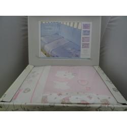 "Trapunta sfoderabile, paracolpi e lenzuolino, colore rosa "" Amore """