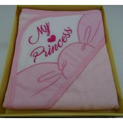 """Accappatoio neonata a triangolo, colore rosa art. """" My Princess """""""