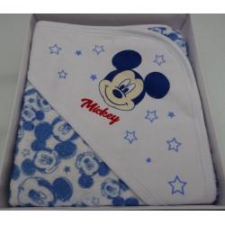 """Accappatoio neonato a triangolo, colore azzurro """" Mickey """""""
