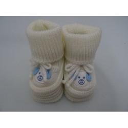 """Babbucce per neonato bianche ed azzurre """"cagnolino"""""""