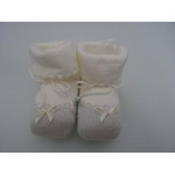 Babbucce per neonata, laminate colore ecrù ed argento