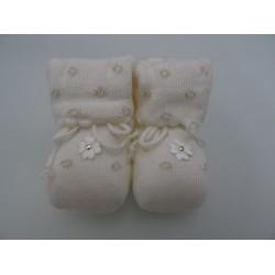Babbucce per neonata, laminate colore ecrù