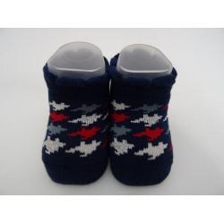Babbucce per neonata, blu con effetto laminato