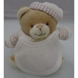 Mini Pupazzo peluche ORSETTO con bavaglino ricamabile a punto croce col. beige h. 9,5 cm