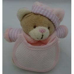 Mini Pupazzo peluche ORSETTO con bavaglino ricamabile a punto croce col. rosa h. 9,5 cm
