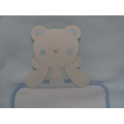 "Cover fleece to bed ""Teddy Bear"" 105x148 cm, light blue, for embroidery, cross stitch with Aida insert"