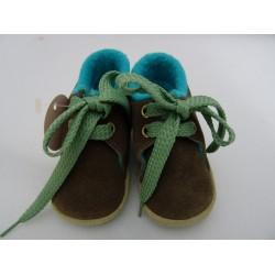 Scarpe da neonato beige e verde