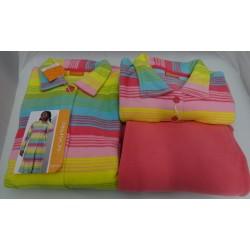 Pigiama + vestaglia in pile da donna, fantasia colorata taglia 50