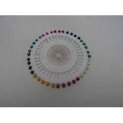40 spilli per sarta da 30 mm con testa colorata