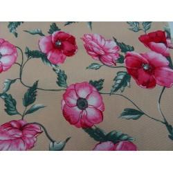 Remnant fabric beige floreal fantasy cotton 140x150 cm