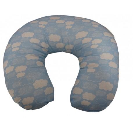 Beige and light blue nursing pillow