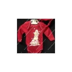 Body neonato manica lunga, cotone felpato rosso natalizio