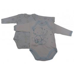 Body neonato Ellepi, fantasia manica lunga caldo cotone, confezione da 2 pz