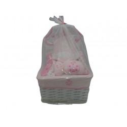 cesto regalo neonata - 8 pezzi - col. rosa e bianco