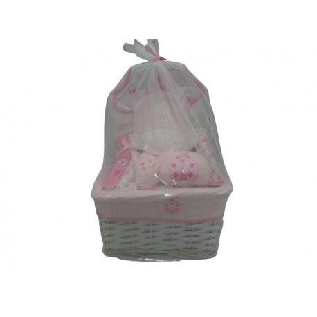 Cesto regalo per neonata 8 pz. colore rosa
