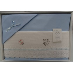 Sheet for cradle 90x120 cm with aida, white and light blue colou
