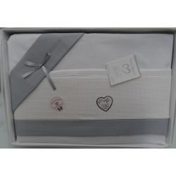 Lenzuolino da ricamare 90x120 cm col. bianco con bordo piquet grigio