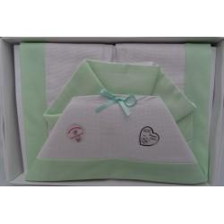 Lenzuolino letto da ricamare con tela aida e piquet verde