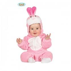 Coniglietto rosa neonata 12-24 mesi