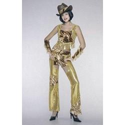 Cow Girl dorata, costume donna taglia 44 per halloween e carnevale