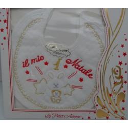 3 Bavaglini serie GIGIO con tela aida da ricamare a punto croce col. rosa, giallo, bianco