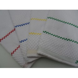 Tris di Strofinacci da cucina in spugna con profili colorati e fascia in tela aida col.1