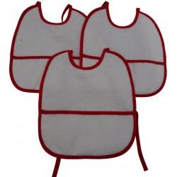 3 Bavaglini natalizi serie GIGIO con tela aida da ricamare a punto croce col. rosso