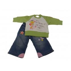 Completo neonata jeans e felpa 3-6 mesi