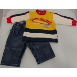 Completo neonato jeans e felpa