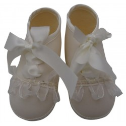 Scarpine neonata per battesimo o cerimonia col. avorio